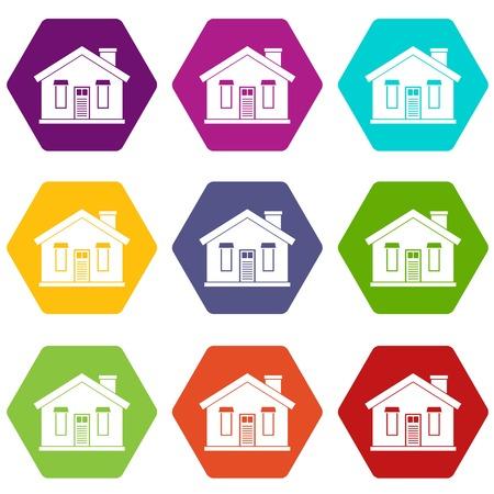 House icon set in multi-color hexahedron illustration. Векторная Иллюстрация