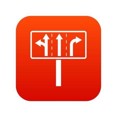 Traffic lanes at crossroads junction icon in digital red square illustration. Illustration