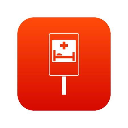 Symbol of hospital road sign icon in digital red square illustration.
