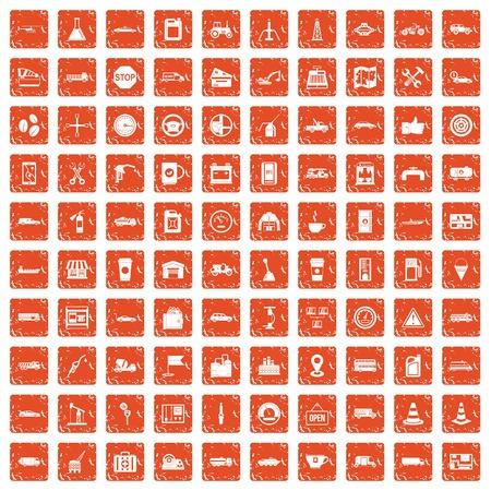 100 gas station icons set grunge orange illustration.