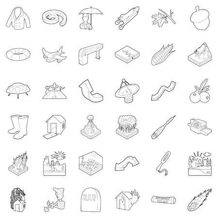 Air quality icons set. Outline set of 36 air quality vector icons for web isolated on white background. Stock Illustratie