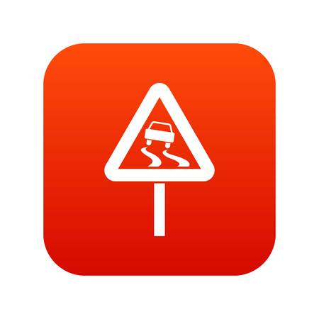 Slippery when wet road sign icon in digital red square illustration.