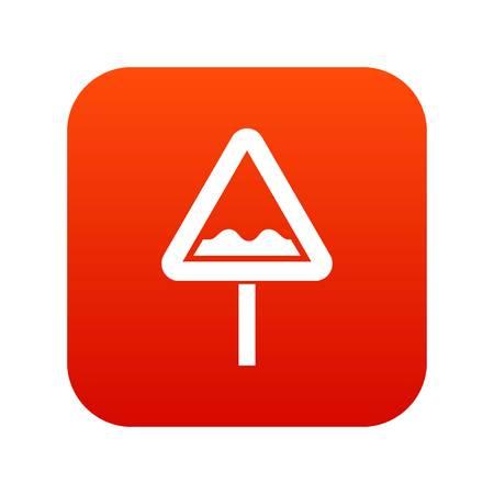 Uneven triangular road sign icon digital red. Illustration