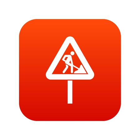 Road works sign icon digital red for any design isolated on white vector illustration Illustration