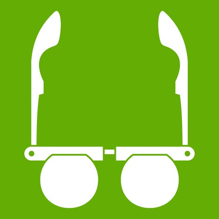 Glasses with black round lenses icon white isolated on green background. Vector illustration Illustration