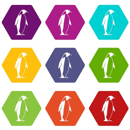King penguin icon set many color hexahedron isolated on white vector illustration