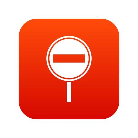 No entry sign icon digital red for any design isolated on white vector illustration Ilustração