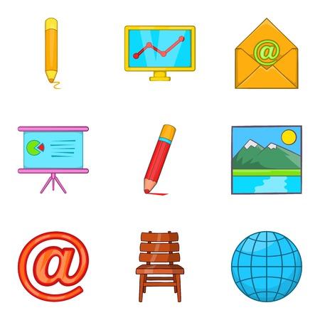 Correspondence icons set. Cartoon set of 9 correspondence vector icons for web isolated on white background Illustration