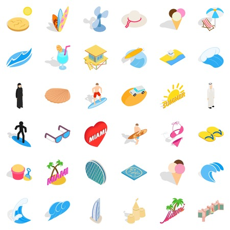 Tropical city icons set. Isometric set of 36 tropical city vector icons for web isolated on white background