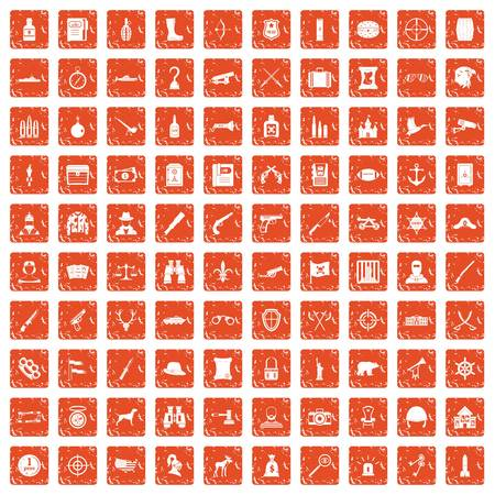 100 guns icons set in grunge style orange color isolated on white background vector illustration