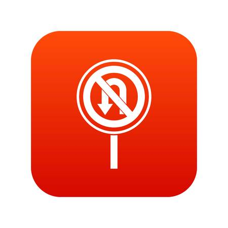 No U turn road sign icon digital red for any design isolated on white vector illustration