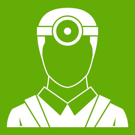 Ophthalmologist with head mirror icon white isolated on green background. Vector illustration Illustration