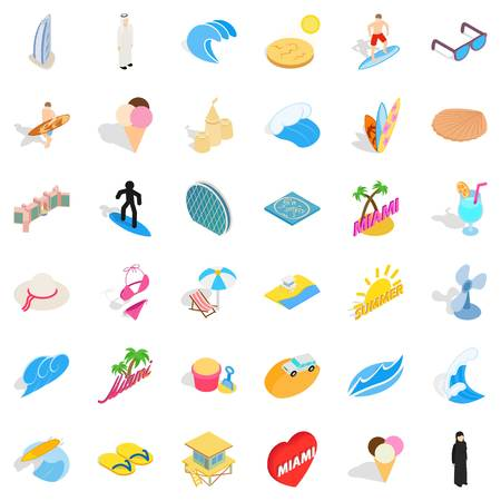 City vacation icons set. Isometric set of 36 city vacation vector icons for web isolated on white background