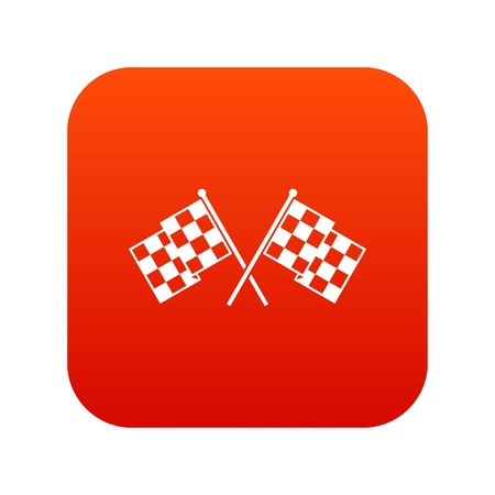 Checkered racing flags icon digital red for any design isolated on white vector illustration Illustration