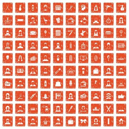 100 hairdresser icons set in grunge style orange color isolated on white background vector illustration