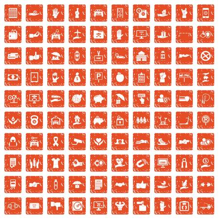 100 hand icons set in grunge style orange color isolated on white background vector illustration