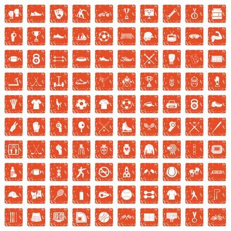 100 athlete icons set grunge in orange