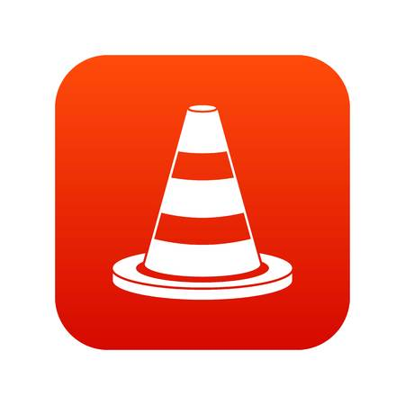 Traffic cone icon digital in red Illustration