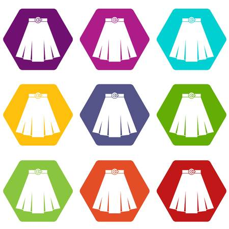 Skirt icon set color in hexahedron Illustration