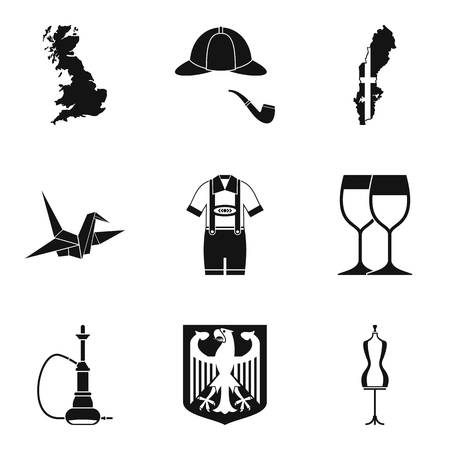 British land icons set, simple style