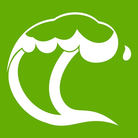 Ocean or sea wave icon in green