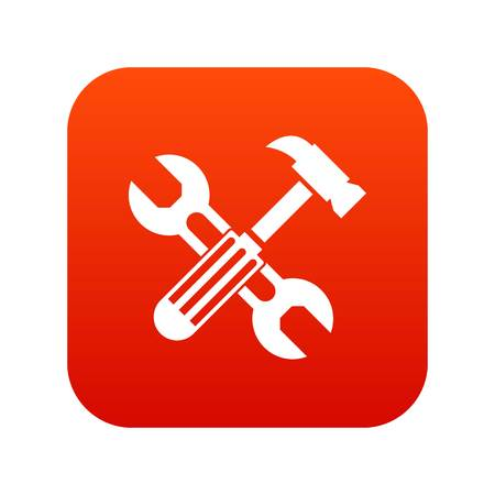 Hammer and screw wrench icon in digital red