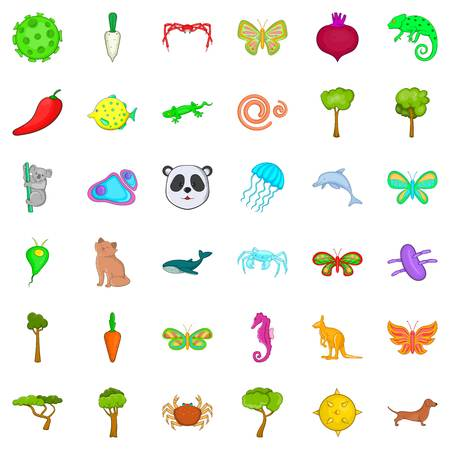 Biocontrol icons set, cartoon style Illustration