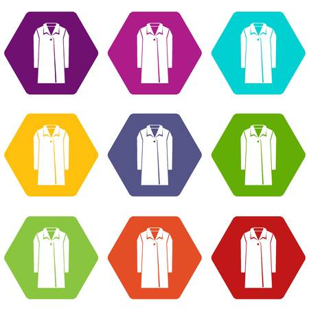 Coat icon set color in hexahedron