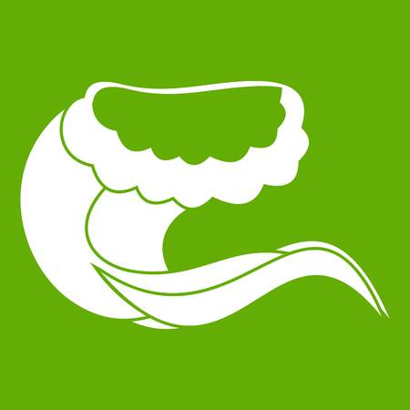 Curling and cracking wave icon in green