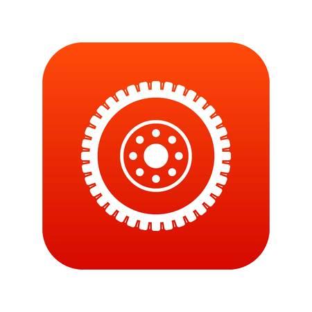 Gear wheel icon in digital red