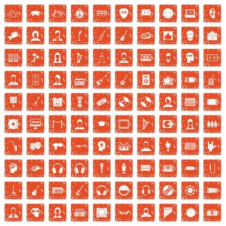 100 audience icons set grunge in orange