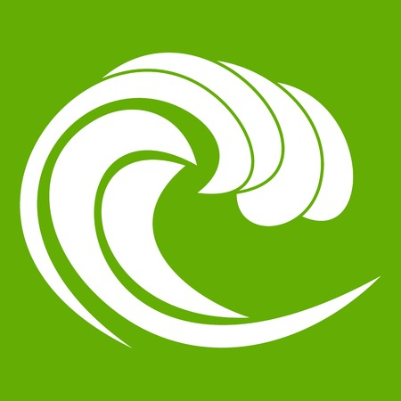 Wave of sea tide icon in green Illustration