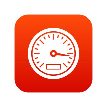 Speedometer icon in digital red Stock Vector - 94768429
