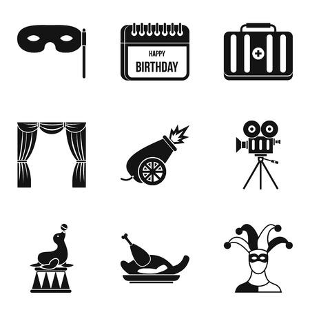 Deception icons set, simple style Illustration