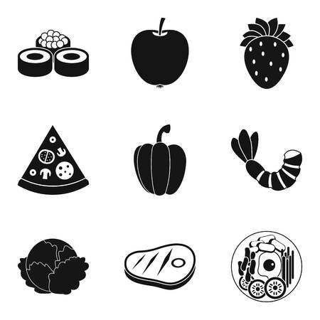 Serving icons set, simple style