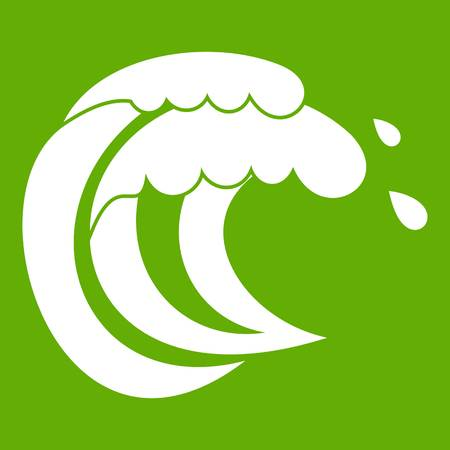 Wave of sea tide icon on green background