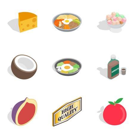 Feed themselves icons set, isometric style Illustration