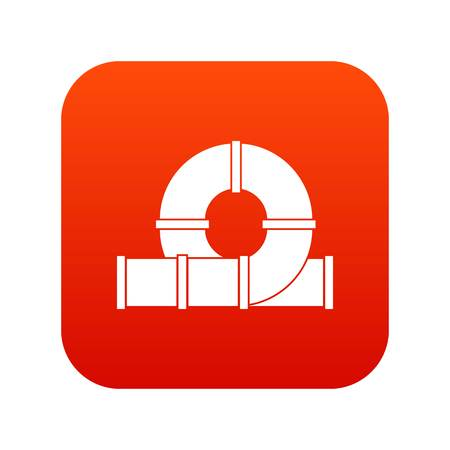 Playground slider water tube icon digital on red backgroud Illustration