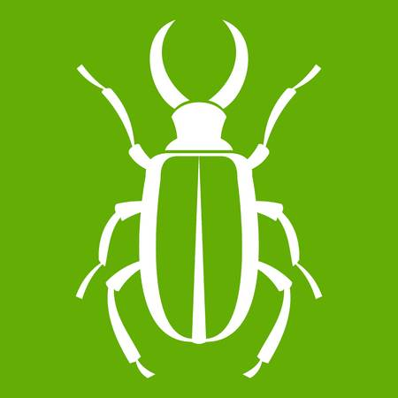Lucanus cervus icon on green background Векторная Иллюстрация