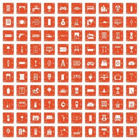100 home icons set grunge orange