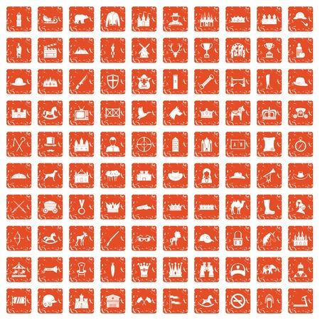 100 horsemanship icons set grunge orange Ilustração