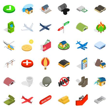 Military science icons set