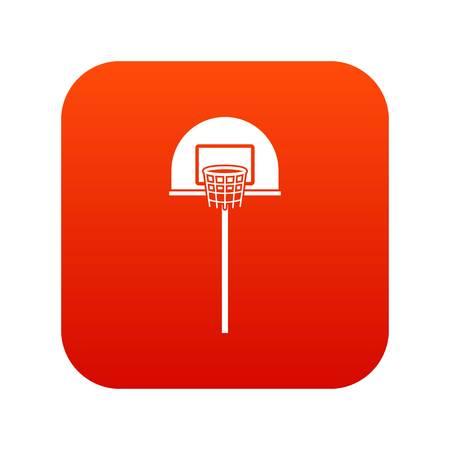 Street basketball hoop icon digital red