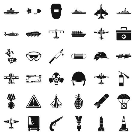 Military resources icons set