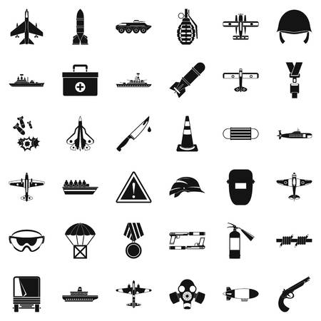 Military warehouse icons set, simple style