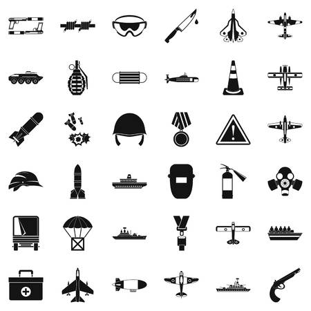 Army depot icons set, simple style