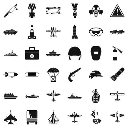 Military depot icons set, simple style