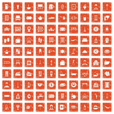 100 inn icons set grunge orange