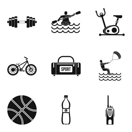 Male health icons set, simple style