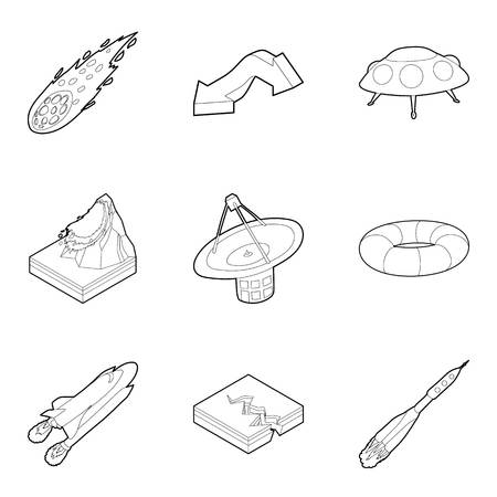 Meteorological icons set. Outline set of 9 meteorological vector icons for web isolated on white background